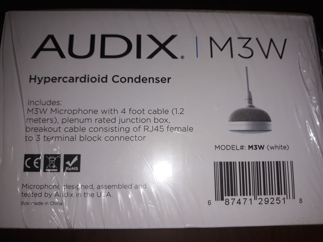 AUDIX M3W Tri Element Ceiling Microphone