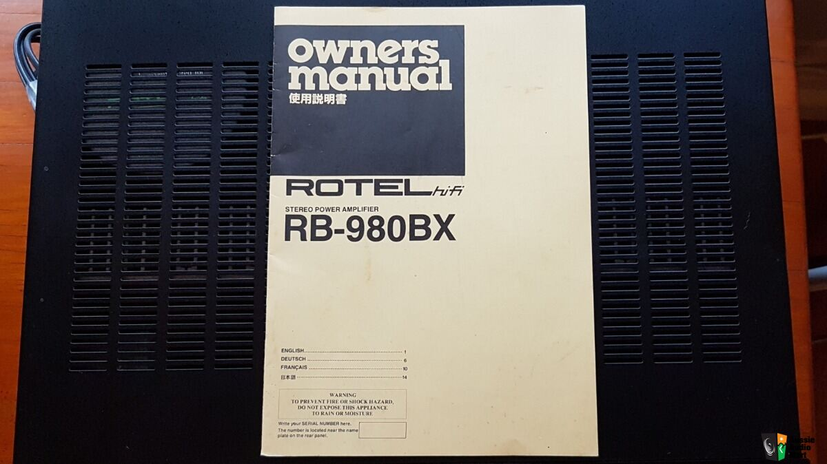 Rotel Stereo Power Ampliflier RB980BX